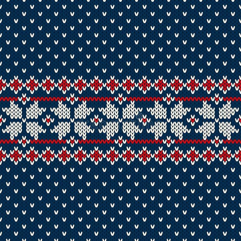 Winterurlaubstrickjackendesign auf der Wolle strickte Beschaffenheit vektor abbildung