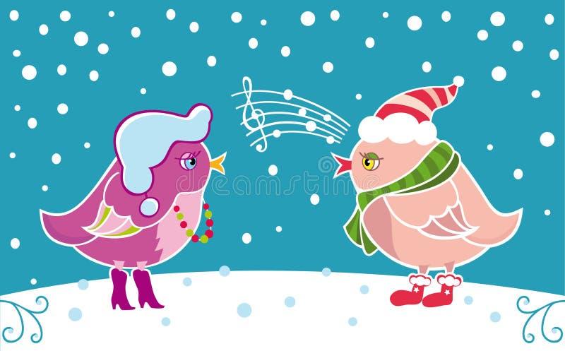 Wintervögel lizenzfreie abbildung