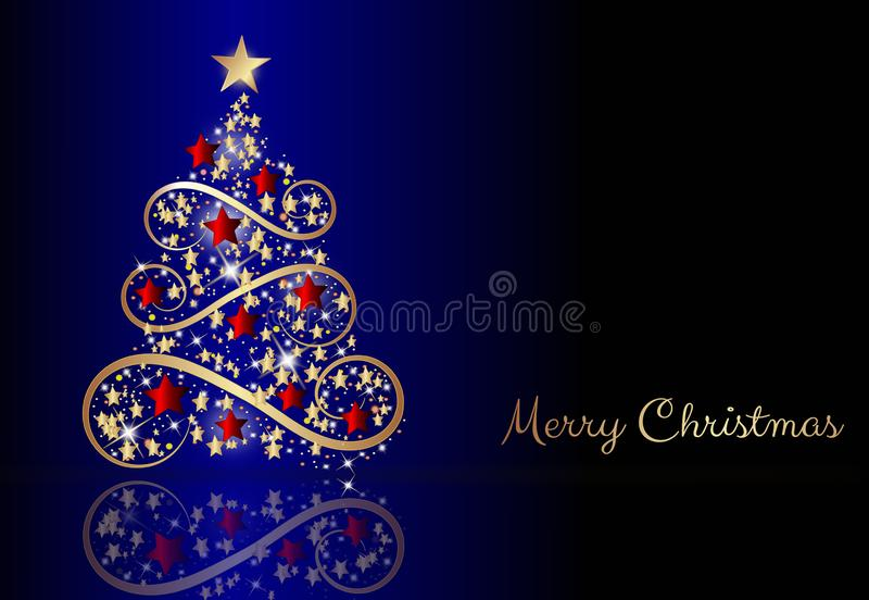 Wintervakantieblauw sjabloon met kerstbrief stock illustratie