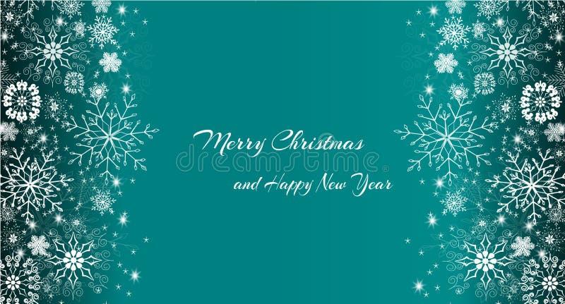 Wintervakantieblauw sjabloon met kerstbrief vector illustratie