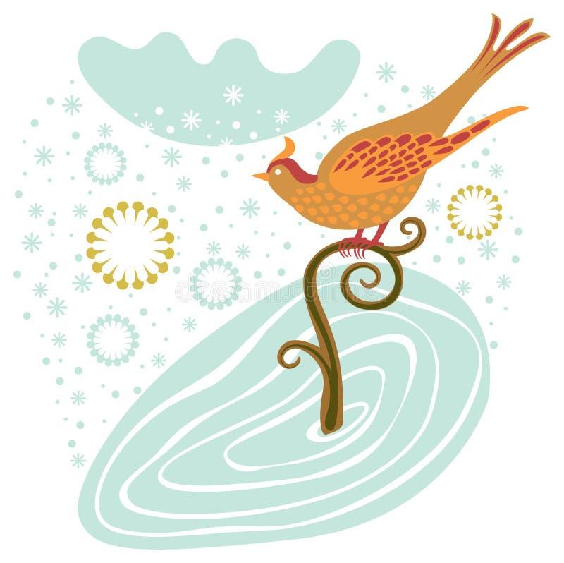Wintervogel auf einem Zweig lizenzfreie abbildung