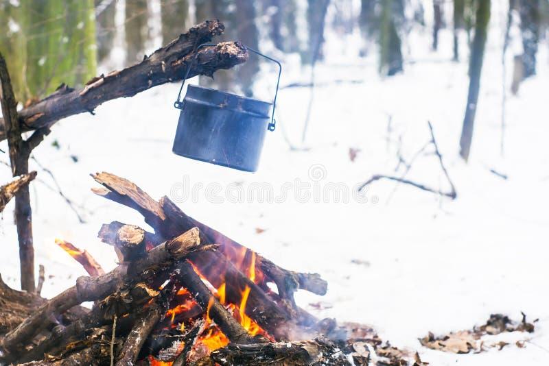Winterwald, der touristische warme Tee in einem Topf stockbilder