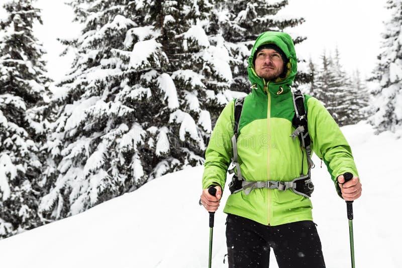 Winterwanderung im weißen schneebedeckten Holz, Mannwandern stockfotografie