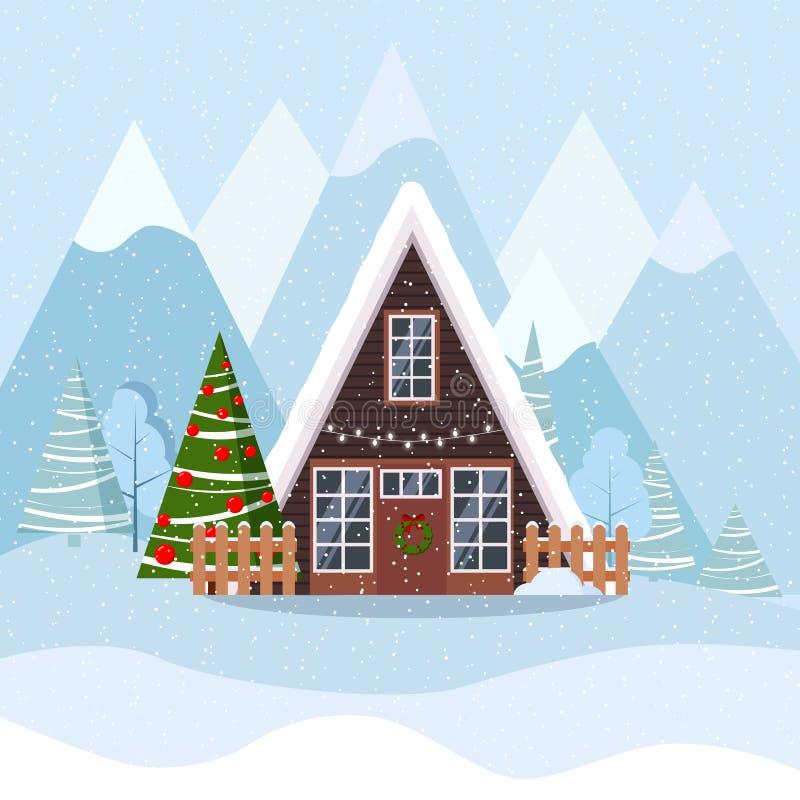 Winterweihnachtslandschaft mit Einrahmenhaus in skandinavische Art verzierter Girlande und in Kranz lizenzfreie abbildung
