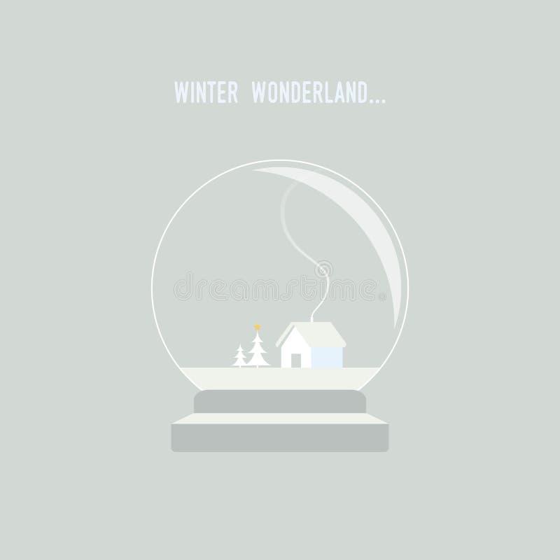 Winterweihnachtslandschaft mit Haus und Baum in der Schneekugel vektor abbildung