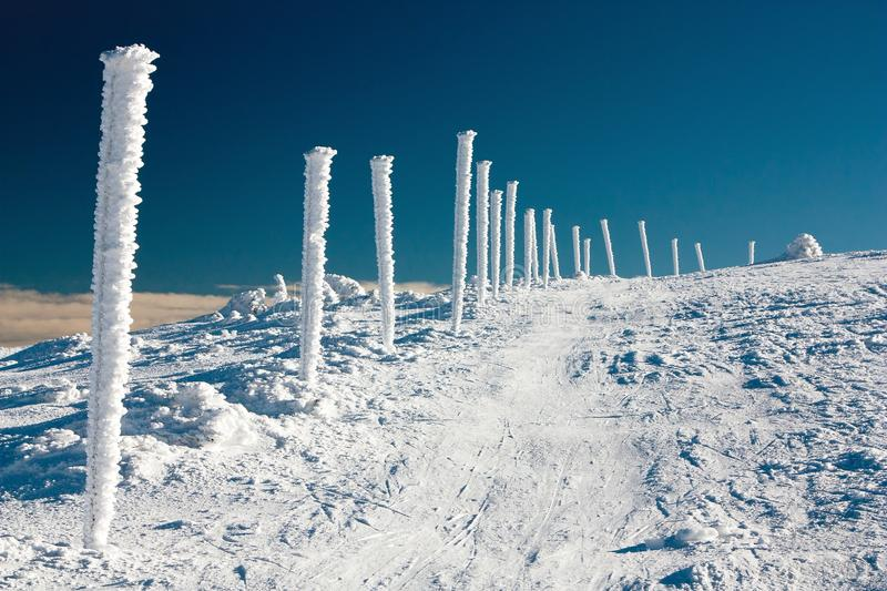 Wintery crosscountry skiing way. On mountains stock photo