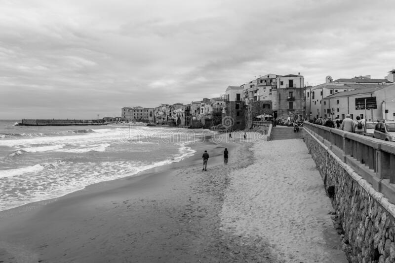 Beach of Cefalu in Sicily, Italy royalty free stock photography