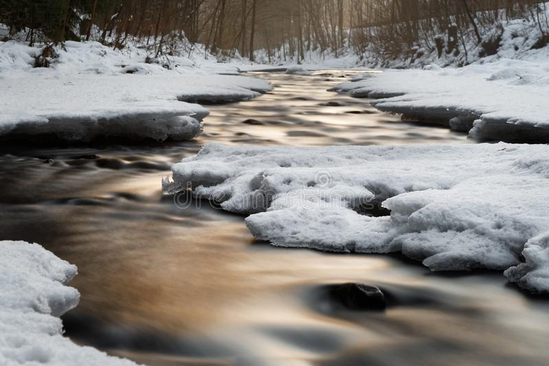 Wintery river view with evening light, water movement and snow. Wintery river view with reflection of colored atmospheric evening light, snow and ice on the stock photos
