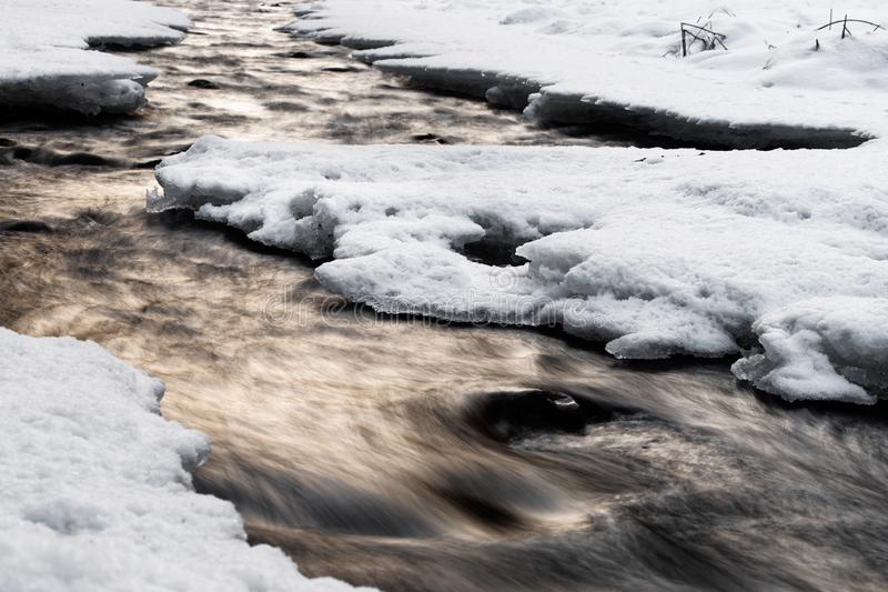 Wintery river view with evening light, water movement and snow. Wintery river view with reflection of colored atmospheric evening light, snow and ice on the royalty free stock images