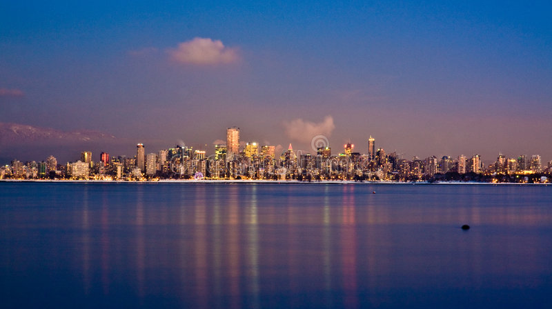 Download Wintery Vancouver Skyline At Dusk Stock Photo - Image: 8860728