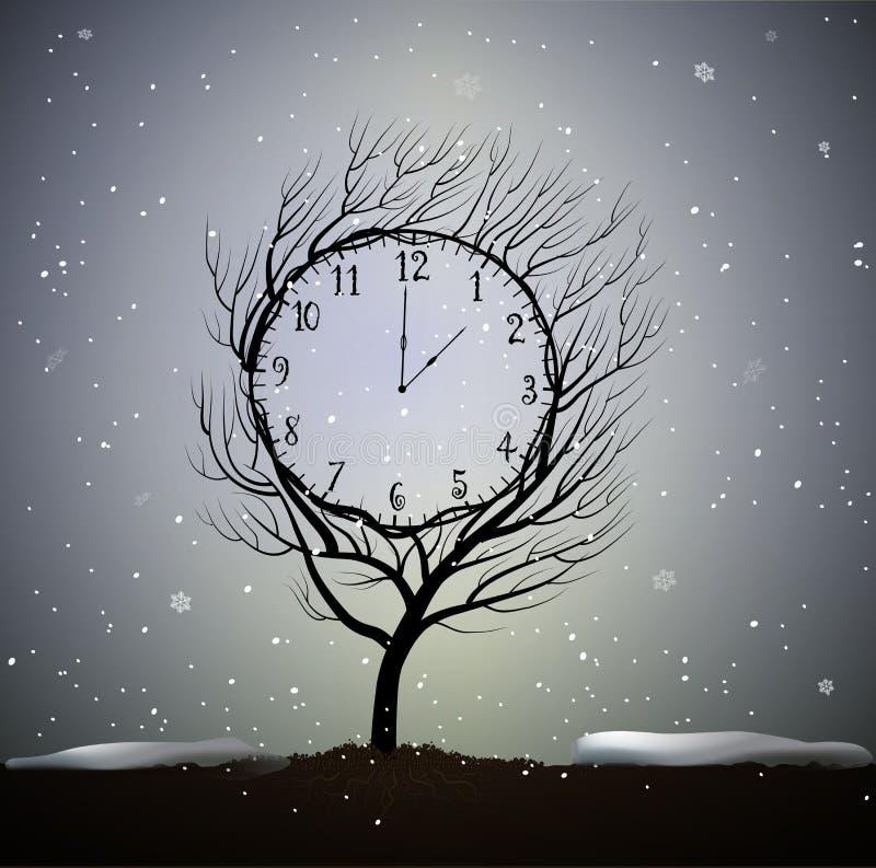 Winterzeit, Baum sieht wie Winteruhr, 5 Minuten zum Frostwetter, der magische Uhrbaum aus, der auf Boden in schönem wächst lizenzfreie abbildung