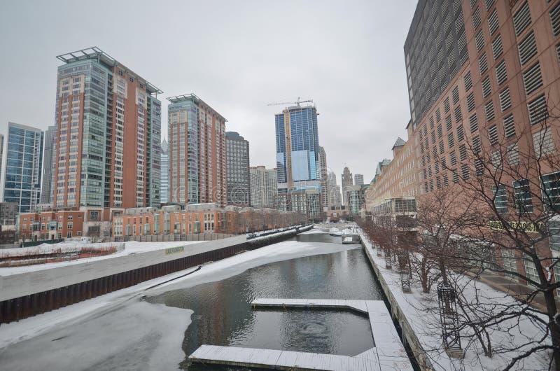 Winterzeit in Chicago stockfotografie