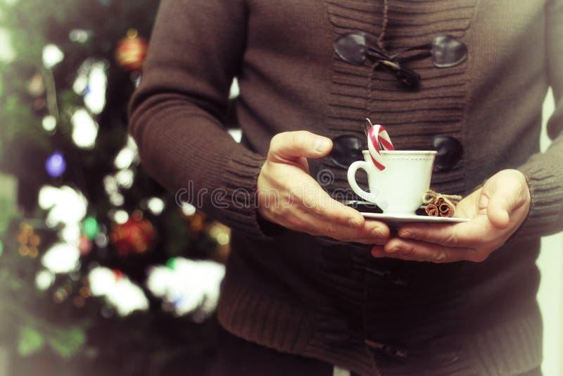 Winterzeit coffe Schale in der Hand stockbilder