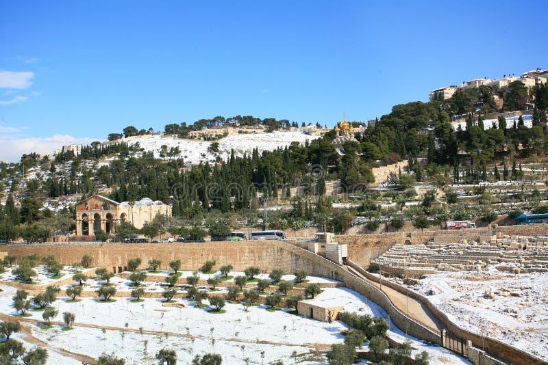 Winterzeit Snowy Jerusalem lizenzfreies stockbild