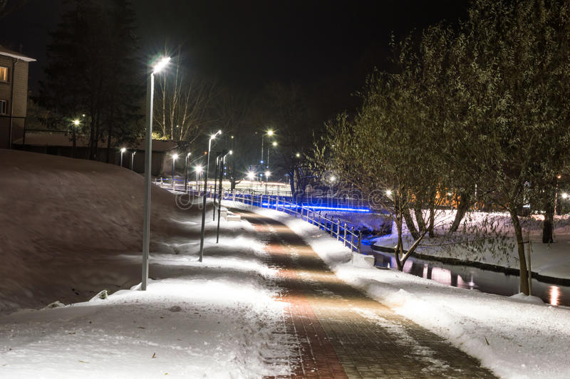 Wintet night photography city park. royalty free stock photography