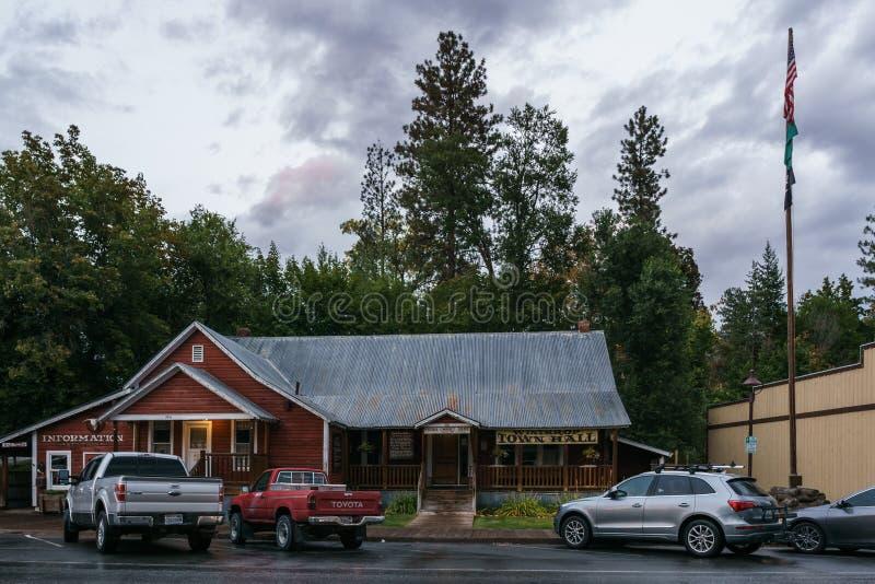 Winthrop, Etats-Unis - 15 septembre 2018 : petite ville de vue de rue dans le nord de la destination touristique de l'état de Was images stock