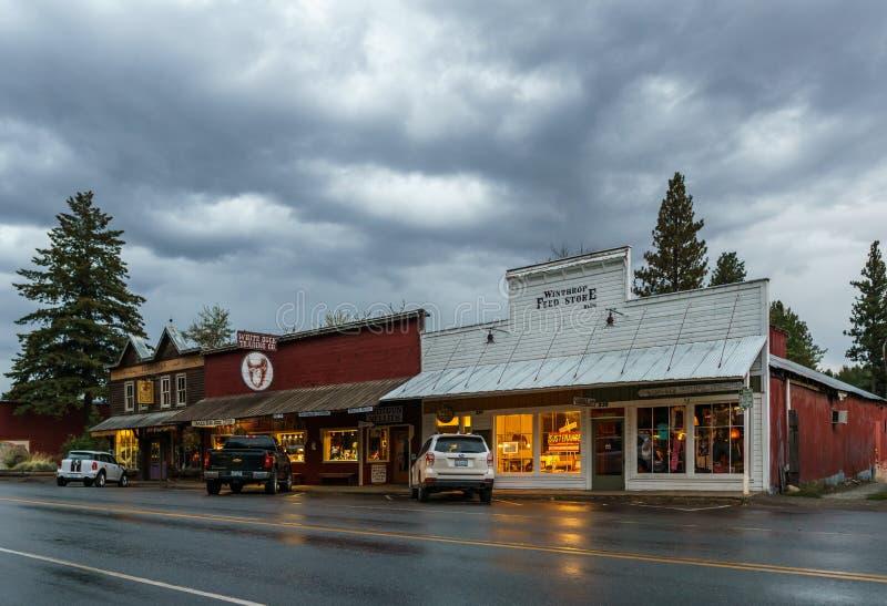 Winthrop, Etats-Unis - 15 septembre 2018 : petite ville de vue de rue dans le nord de la destination touristique de l'état de Was image libre de droits