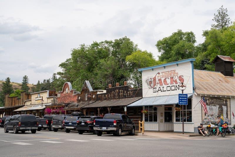 Winthrop, Waszyngton - Uliczny widok w centrum Winthrop, mały dziki zachodni tematu miasteczko w Kaskadowych górach obrazy royalty free