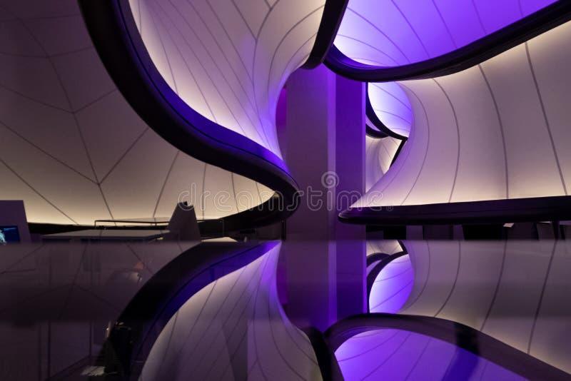 Winton Mathematics Gallery no museu de ciência, Londres, Reino Unido, projetado por Zaha Hadid A instalação inspirada por modelos imagem de stock