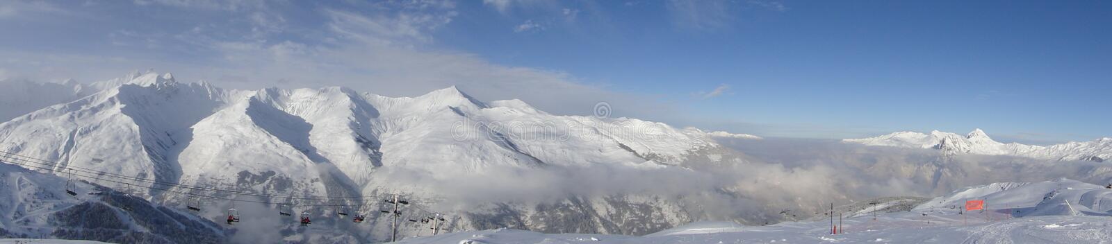 Wintry Alpine landscape stock images
