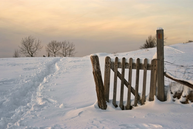 Wintry countryside scene at dusk. Fence, field ans snow : typical snowy lanscape in french jura, at dusk royalty free stock photos