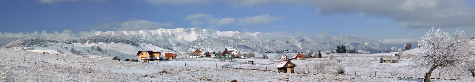 Wintry panorama of Piatra Craiului Mountains royalty free stock images