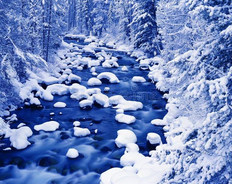 Wintry River Landscape royalty free stock images