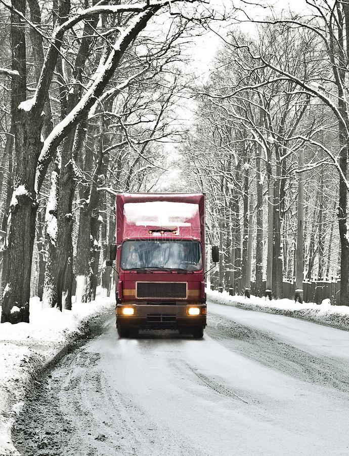 Wintry road. Lorry cab, wintry moody road royalty free stock images