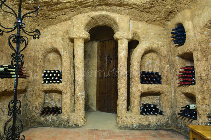 Winw warehouse. Antique wine warehouse made in the rock stock photos