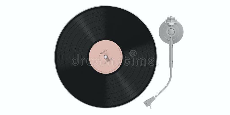 Winylowego rejestru LP gracz odizolowywający, wycinanka na białym tle, odgórny widok ilustracja 3 d royalty ilustracja