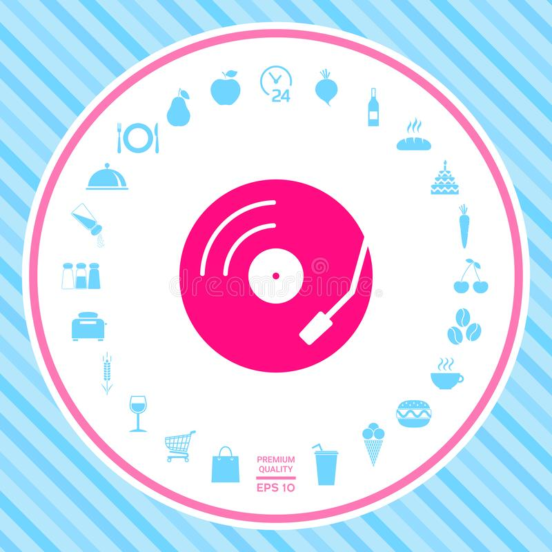 Winylowego rejestru turntable ikona ilustracja wektor