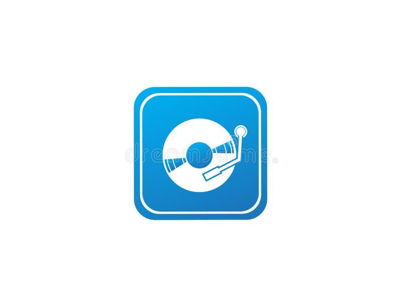 Winylowy dysk dla dj miesza muzyczną logo projekta ilustrację w kształcie royalty ilustracja