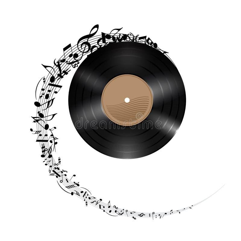 Winylowy dysk z muzycznymi notatkami. ilustracja wektor
