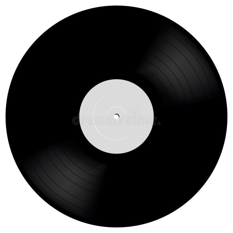 Winylowy LP rejestr w realistycznym stylu Czarny muzykalny długiej sztuki albumowy dysk 33 rpm Wektorowa mockup ilustracja royalty ilustracja