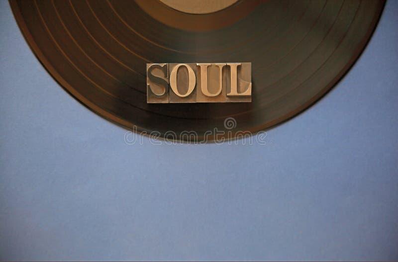 Winylowy rejestr z duszy słowem obraz stock