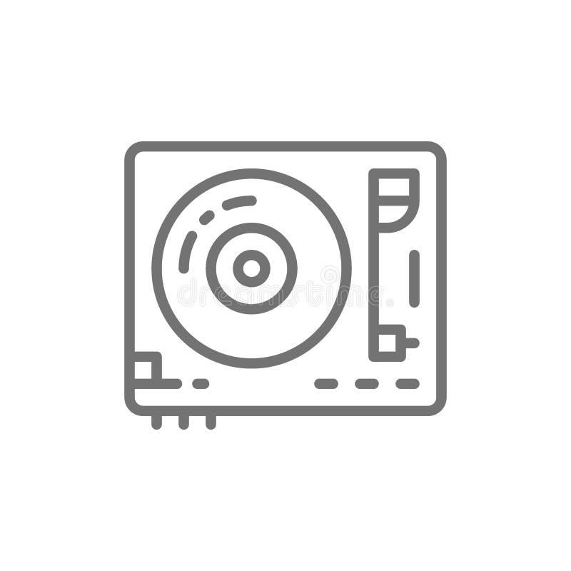 Winylowy turntable, DJ melanżeru linii ikona ilustracji