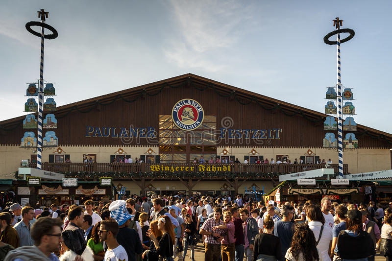Winzerer Faehndl tent at Oktoberfest in Munich, Germany, 2015. Munich, Germany - September 24, 2016: Facade and entrance of the Winzerer Faehndl beer tent with stock photos