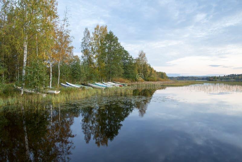 Wioślarskie łodzie na brzeg na jesieni nocy obrazy stock