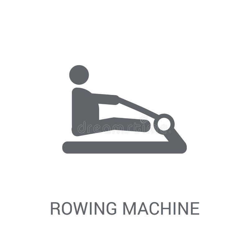 Wioślarskiej maszyny ikona Modny Wioślarskiej maszyny logo pojęcie na bielu ilustracji