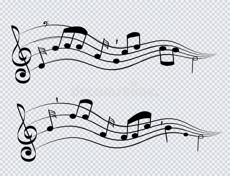 Wiosłuje muzykalne notatki i akordy czarny kolor na przejrzystym tle Set dźwięk i muzyka ilustracji