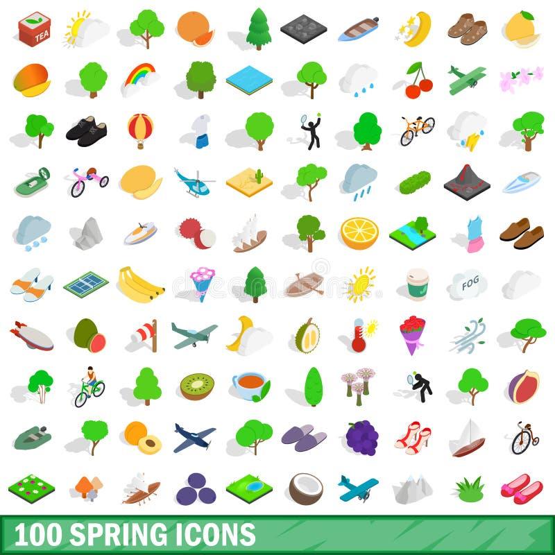 100 wiosen ikon ustawiających, isometric 3d styl royalty ilustracja