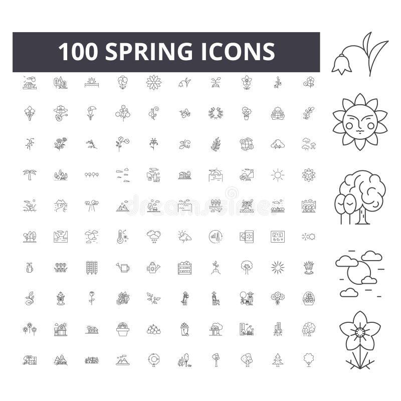 Wiosen kreskowe ikony, znaki, wektoru set, kontur ilustracji pojęcie zdjęcie royalty free