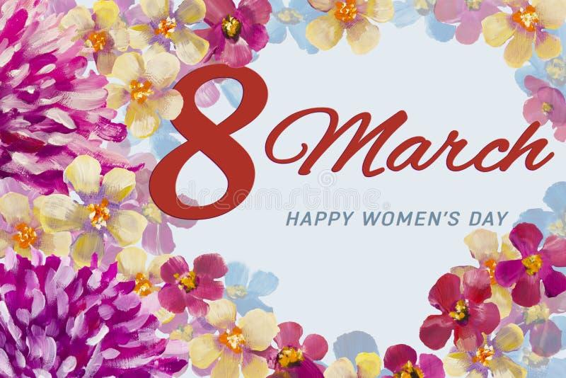 Wiosen różowe chryzantemy kwitną i pomarańczowy błękitny i czerwony kwiecisty okwitnięcie dla 8 obrazu olejnego Marcowego kartka  ilustracja wektor