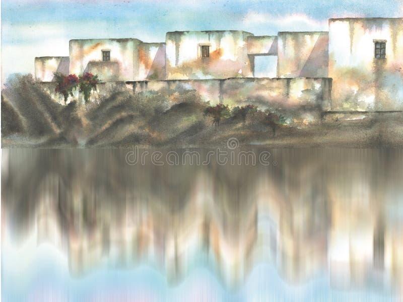 wioska śródziemnomorskiej ilustracji
