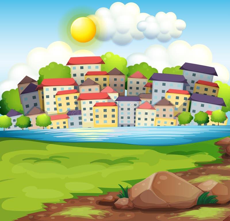 Wioska blisko rzeki ilustracja wektor