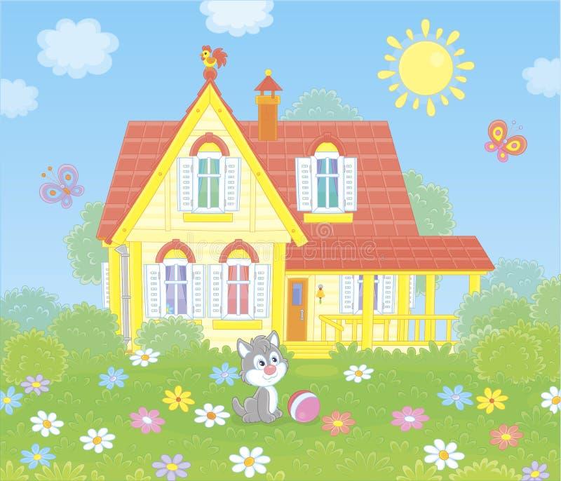 Wioska dom na pogodnym letnim dniu ilustracja wektor