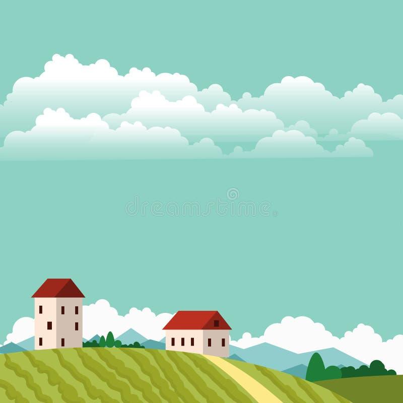 Wioska krajobrazów ilustraci gospodarstwa rolnego domu rolnictwa grafiki wektorowa wieś ilustracji