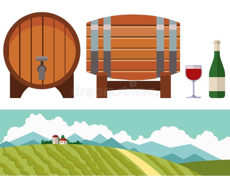 Wioska krajobrazów ilustraci gospodarstwa rolnego domu rolnictwa grafiki wektorowa wieś royalty ilustracja