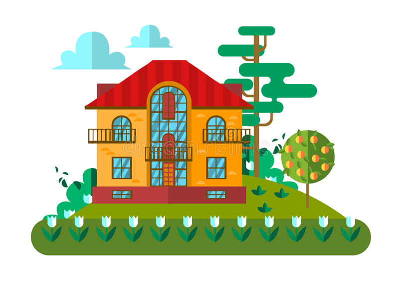 Download Wioska krajobraz ilustracja wektor. Ilustracja złożonej z chałupa - 57660651