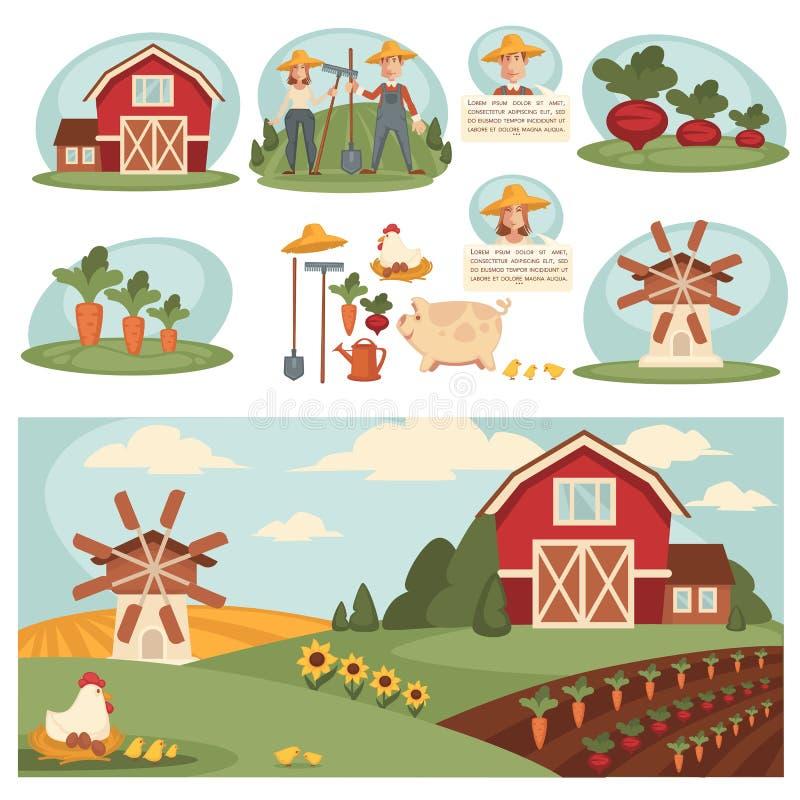 Wioska krajobraz z rolnym budynkiem royalty ilustracja
